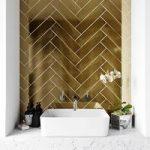 Metallic gold wall tile 75mm x 300mm