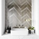 Metallic silver wall tile 75mm x 300mm