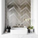 Metallic silver wall tile 75mm x 300mm