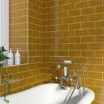 V&A puddle glaze honey plain field tile 152mm x 76mm