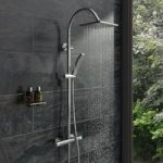 Shower Riser System – Square Shower Head – Hooped Rail – Contemporary – Aria