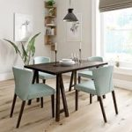 Hudson Walnut Trestle Dining Table – 4 Hudson Green Chairs – Contemporary