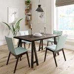 Hudson Walnut Trestle Dining Table – 4 Hadley Green Chairs – Contemporary