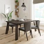 Lincoln Walnut Dining Table With 4 Chairs – Hudson Grey – Contemporary