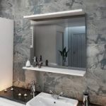 White Bathroom Mirror – 850mm – Wood Shelf – Florence