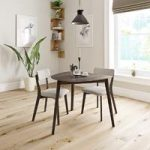 Ernest Walnut Dining Table With 2 Chairs – Beige – Contemporary