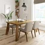 Lincoln Oak Dining Table With 4 Chairs – Lincoln Beige – Contemporary