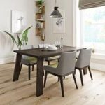 Lincoln Walnut Dining Table With 4 Chairs – Grey / Green – Contemporary