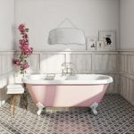 Rose Pink Freestanding Bath – 1770 x 800mm – Includes Tap & Waste – Traditional