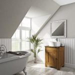 Chester Washstand – 600mm – Oak – Brown Marble Top – Traditional – The Bath Co