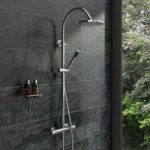Shower Riser System – Round Shower Head – Hooped Rail – Contemporary – Aria