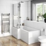 L Shaped Shower Bath – 1700 x 850mm – With 8mm Hinged Shower Screen & Rail – Left Handed