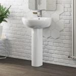 Maine Full Pedestal Basin – 540mm – Curved – 1 Tap Hole – Contemporary – Mode